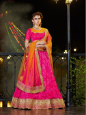 Alluring & Graceful Rani Colored Two Tone Jacqured Lehenga