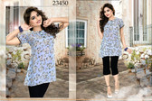 Lovely & Trendy Light Indigo Colored Georgette Print & Crepe Satin Top