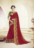 Elegant & Beautiful Maroon Colored Designer Cotton Silk Saree