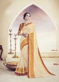 Elegant & Beautiful Off White Colored Designer Cotton Silk Saree