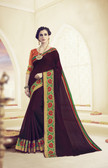 Elegant & Beautiful Violet Colored Designer Cotton Silk Saree