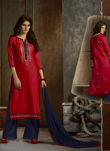Delightfully Attractive Maroon Colored Cotton Designer Suit