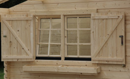 Double windows shutters with flower box