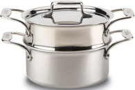 ALL-CLAD 3 QT CASSEROLE WITH STEAMER & LID, D5 STAINLESS STEEL 5-PLY BONDED