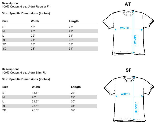 Size chart for Star Trek T-Shirt - Spock TRV-CBS579-AT