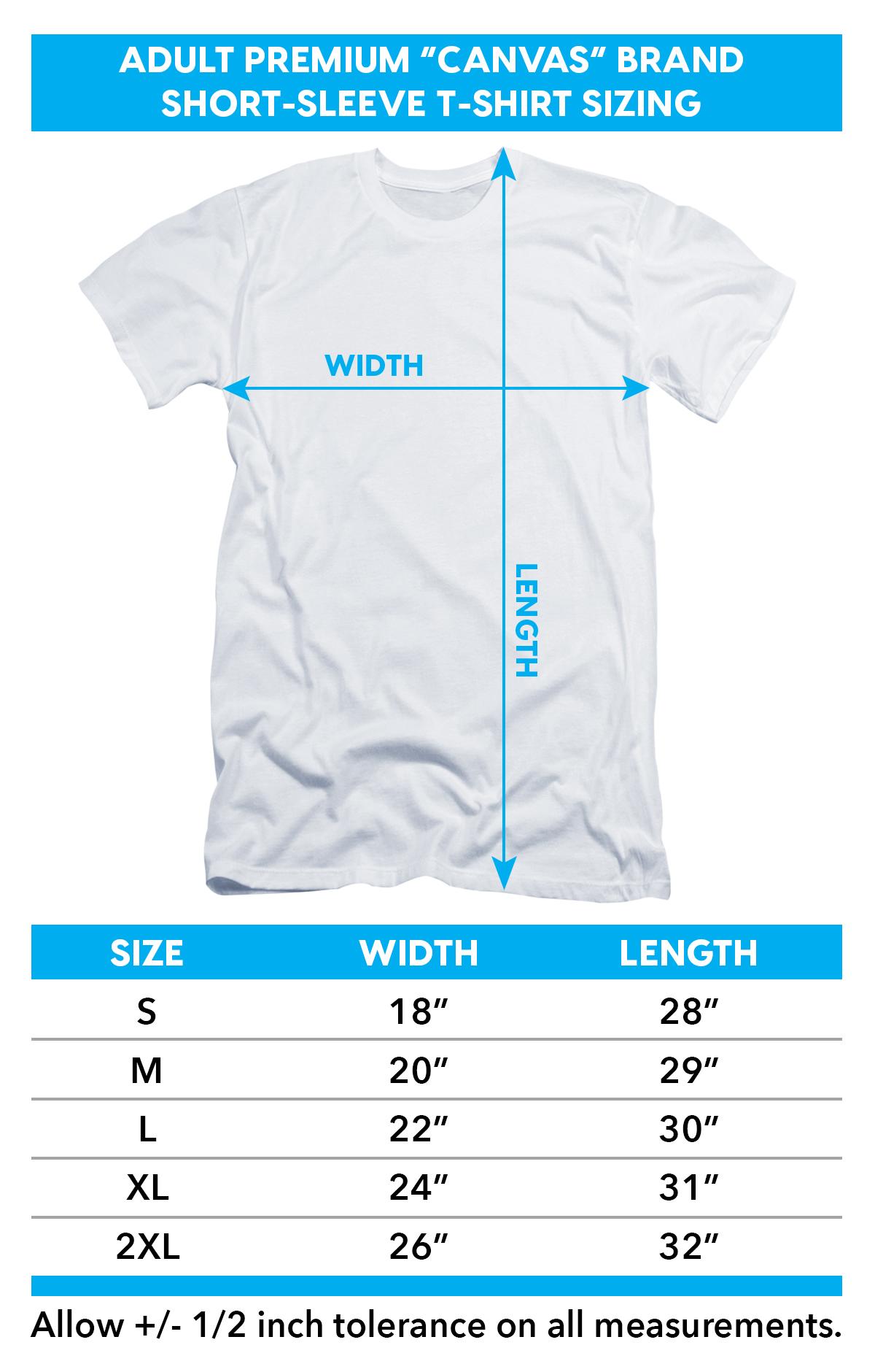 Size chart for Batman Premium Canvas Premium Shirt - Contrast Profile Head