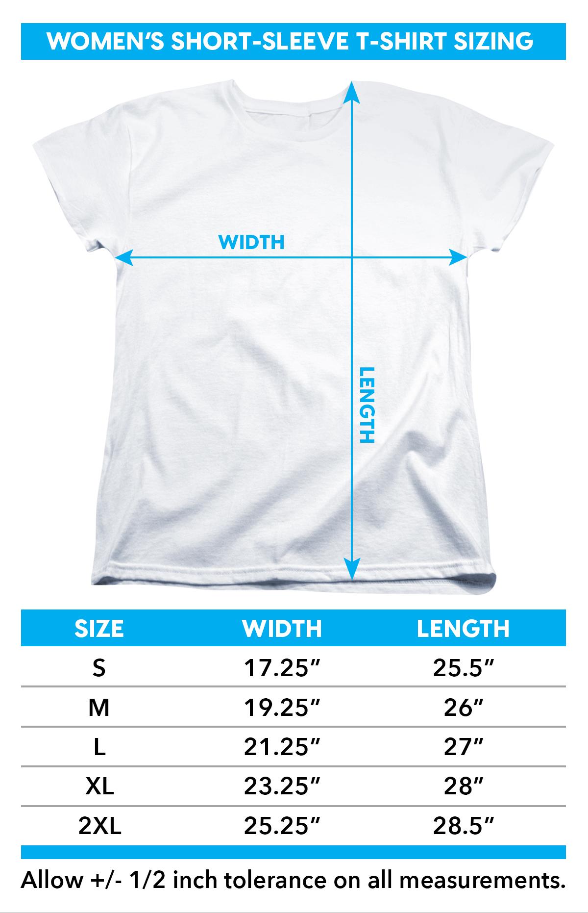 Size Chart for Lobo Woman's T-Shirt - Big Face TRV-JLA861-WT