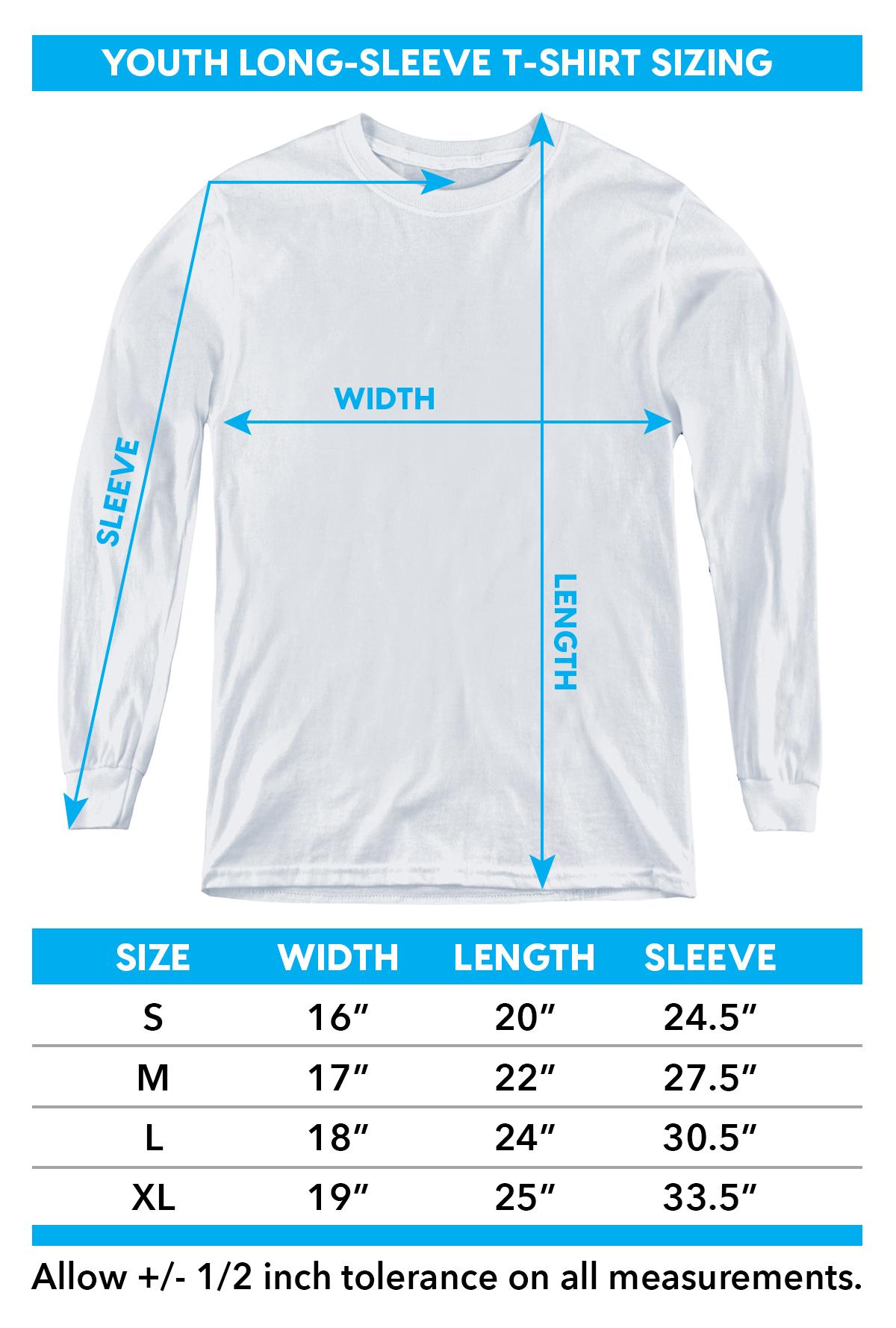 Sizing chart for Batman Youth Long Sleeve T-Shirt - Tie Dye Harley Airbrush TRV-BM2848-YT
