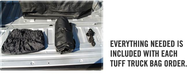 Tuff Truck Bag includes truck bag, stow bag and tie down bungee cords