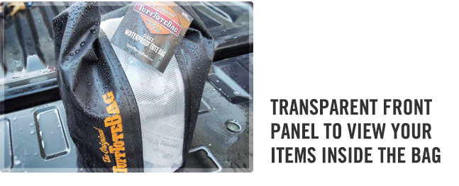 waterproof transparent view panel on the class 3 waterproof black dry tote bag