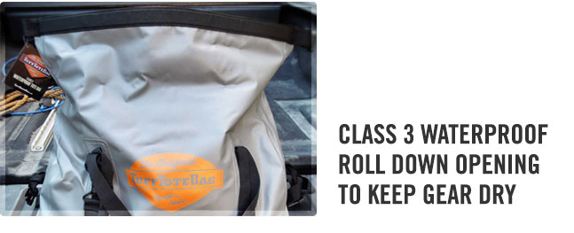 Waterproof roll down opening on the gray duffle bag