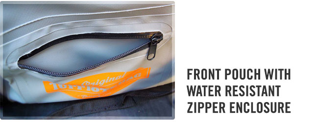 Front water resistant zipper pouch on the large gray waterproof duffle bag