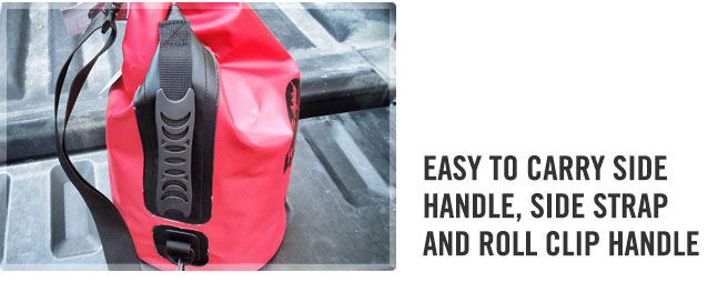 Easy grip handle and shoulder strap on the class 3 waterproof red dry tote bag