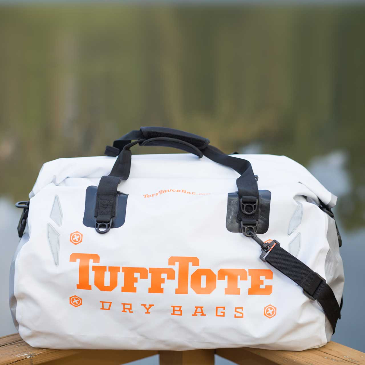 Front view of the white 60L waterproof Tuff Tote Dry Bag Duffle