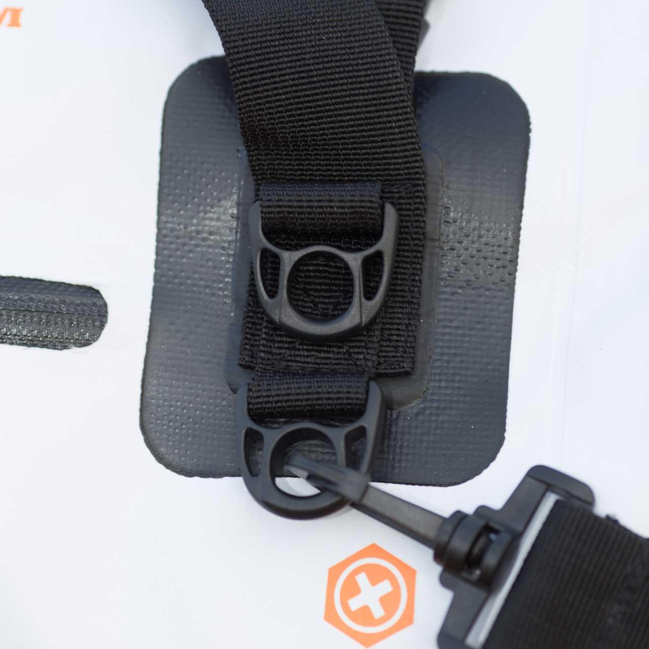 Close up of the bag's shoulder strap clips
