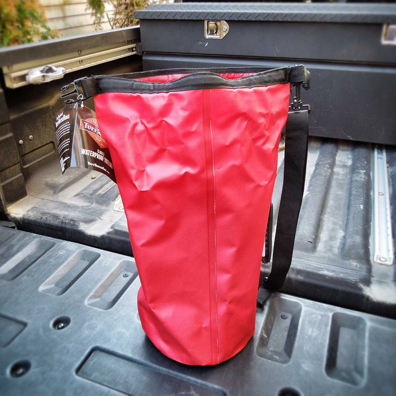 Back view of the red class three waterproof dry bag.