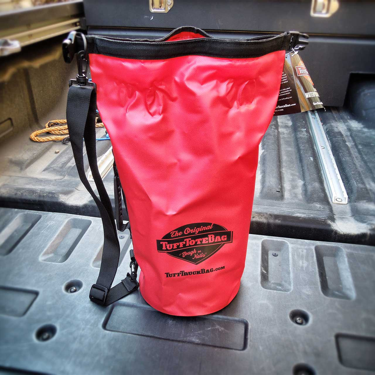 Front view of the red class 3 waterproof dry Tuff Tote bag.