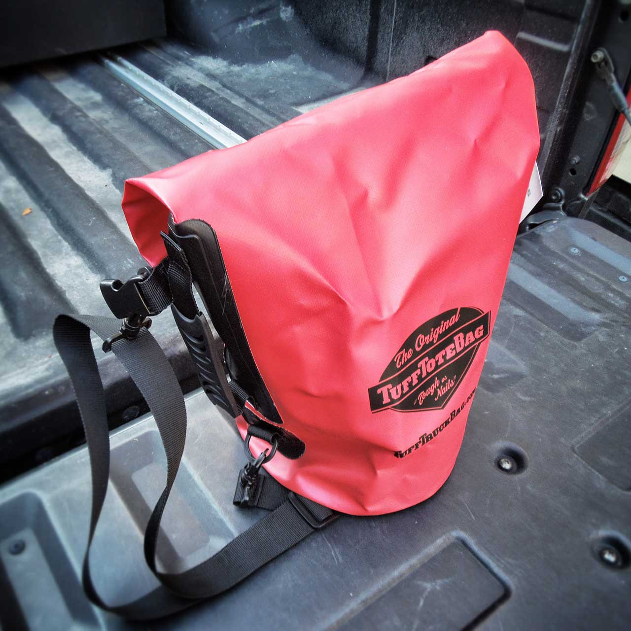 Top view of roll down class 3 waterproof red Tuff Tote dry bag.