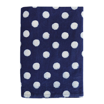 Dots indigo cotton tablecloth 150x280cm
