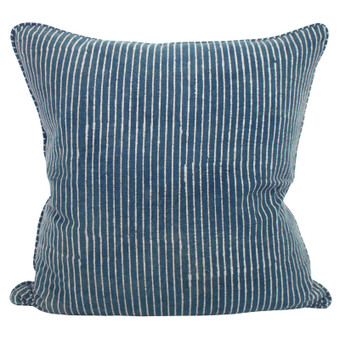 Strokes indigo cotton cushion 55x55cm