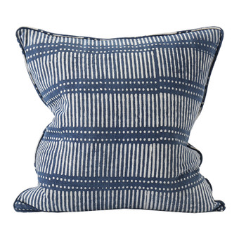 Dash Dot indigo cotton cushion 50x50cm