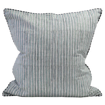 Ticking light blue linen cushion 55x55cm