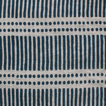 Dash Dot Indian Teal Linen