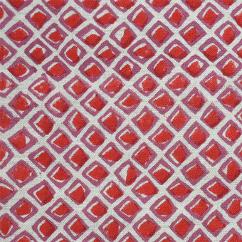 Diamond Buti Red Linen