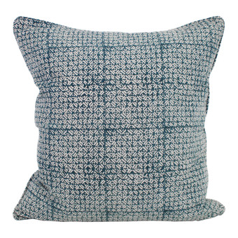 Batik Pacific Blue linen cushion 55x55cm