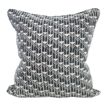 Mali Indian teal linen cushion 50x50cm