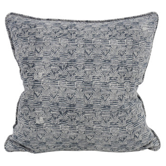 Bhujodi Indian teal linen cushion 50x50cm