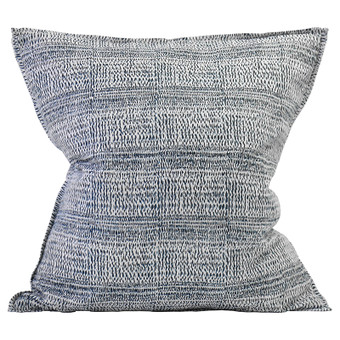 Kantha China Blues linen cushion 55x55cm