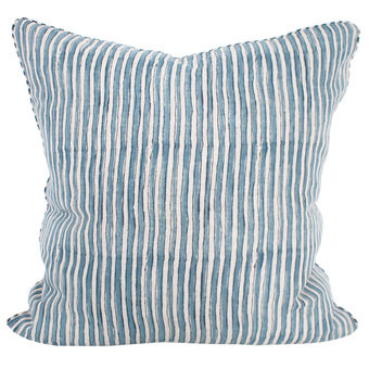 Ticking Sky Blue linen cushion 55x55cm