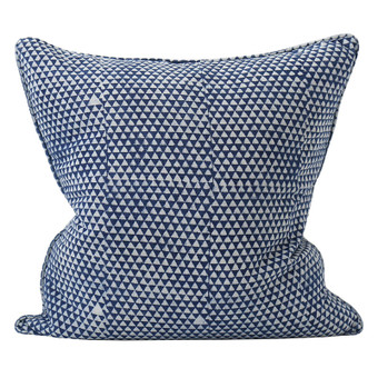 Huts indigo cotton cushion 55x55cm