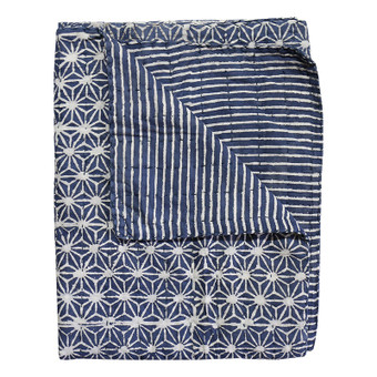 Stars indigo cotton throw 140x200cm