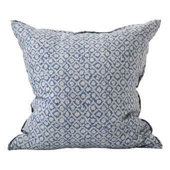 Bandhini Inverse Denim linen cushion 55x55cm