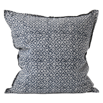 Bandhini Inverse Indian teal linen cushion 55x55cm