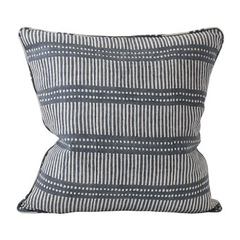 Dash Dot Inverse Slate linen cushion 50x50cm