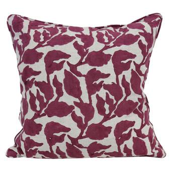 Flores sangria linen cushion 50x50cm