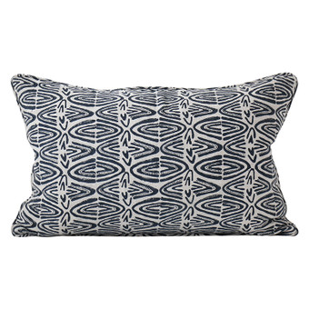 Rabari Indian Teal linen cushion 35x55cm