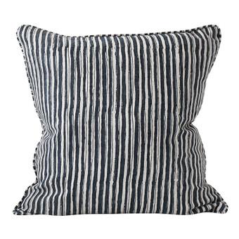 Ticking Indian Teal linen cushion 50x50cm