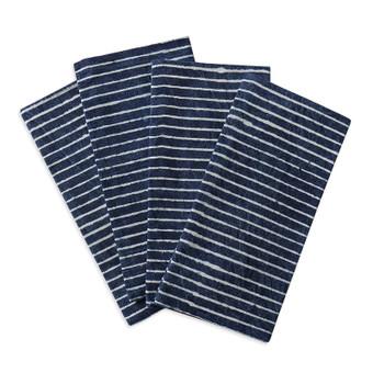 Strokes indigo cotton napkins (set of 4)