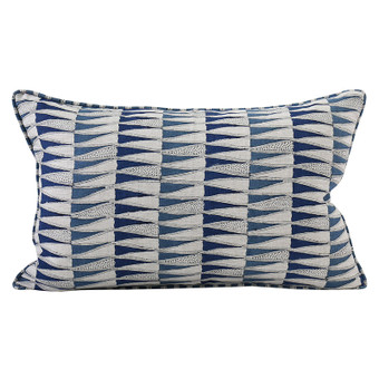 Tangier Denim linen cushion 35x55cm