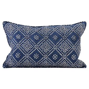 Bandol Inverse Indigo linen cushion 35x55cm