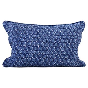Scopello Dark Lapis linen cushion 35x55cm
