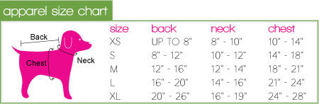 dog Costume size chart