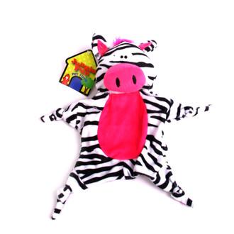 Plush Zebra Jungle-Tie Dog Toy With Squeaker