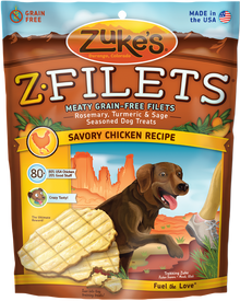 Zukes Z-Filets Dog Treats - Beef, Venison, and Chicken Jerky
