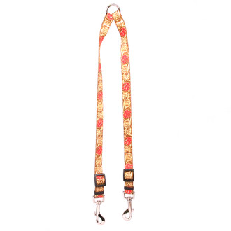 Leather Rose Red Coupler Fabric Dog Leash