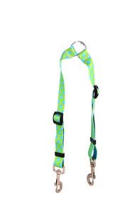 Green and Blue Polka Dot Coupler Dog Leash